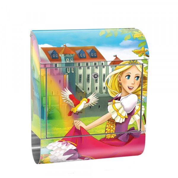 Stainless Steel Letterbox with Newspaper roll & Motif children's Fairy tale fairy | No. 0114