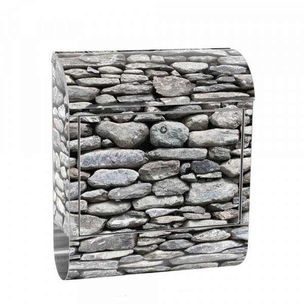 Stainless Steel Letterbox with Newspaper roll & Motif Stone Stone Optic 3D | No. 0072