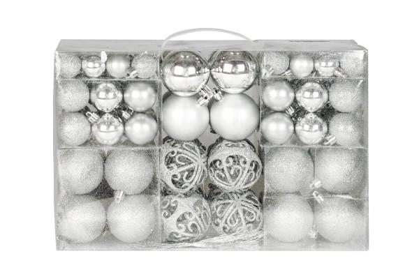 Exklusives Weihnachtskugeln Christbaumkugeln SET mit 100 Stück Farbe Silber