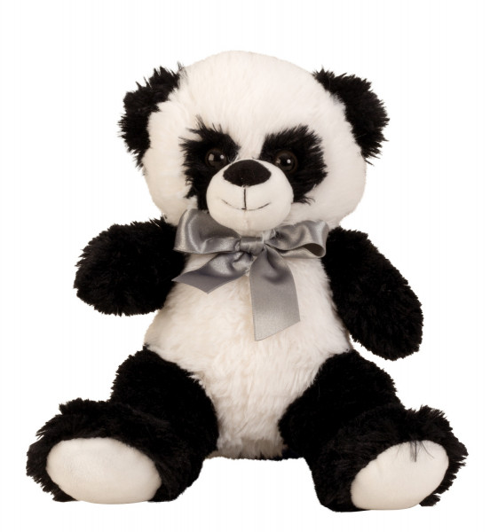 Soft cuddly soft panda bear Cuddly bear with bow to love in black / white Height 32 cm