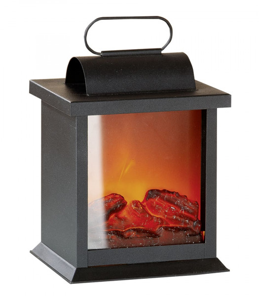 LED table fireplace fireplace LED lantern with realistic flame simulation black metal 15x15x25 cm