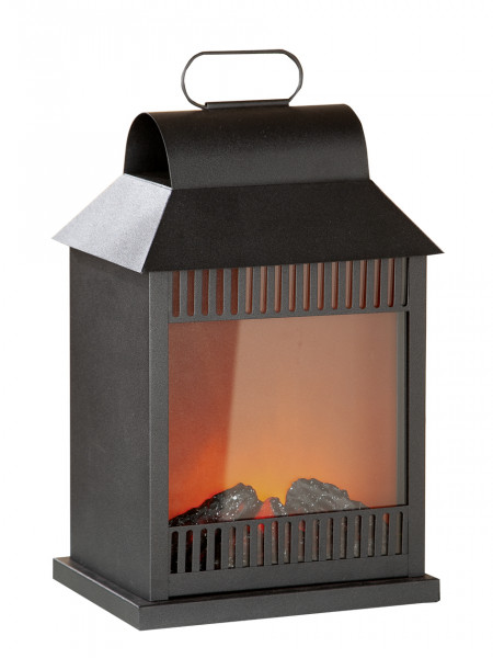 LED table fireplace fireplace LED lantern with realistic flame simulation black metal 16x22x34 cm
