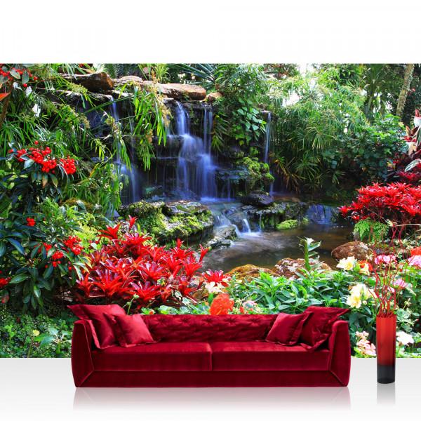 Vlies Fototapete Wald Tapete Wasserfall Urwald Pflanzen Baum Natur grün