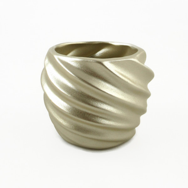 Planter Planter Vase for flowers made of ceramic in the color champagne gold 16,5x16,5x13,5 cm