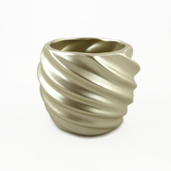 Übertopf Pflanzengefäß Vase für Blumen aus Keramik in der Farbe champagner gold 16,5x16,5x13,5 cm
