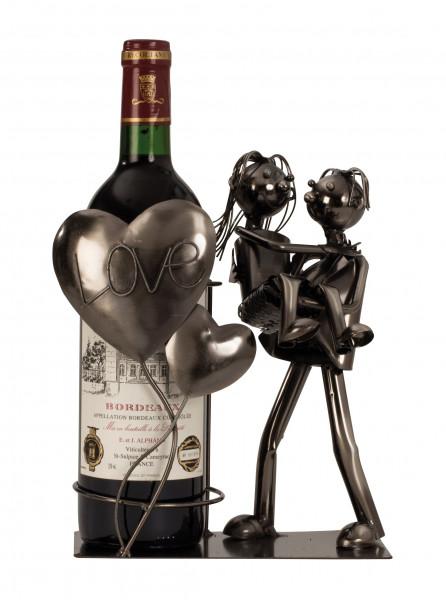 Modern Weinflaschenhalter Lovers Love Metal Height 24 cm width 19 cm