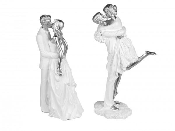 Modern decoration sculpture Pair of ceramic white / silver Height 29 cm