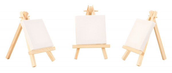 Mini canvas on stretcher with wooden easel 7x7 cm 24 pieces Perfect as place cards at weddings, events etc