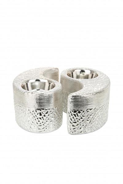 Modern lantern holder tealight holder in set of 2 silver ceramic 12x12x6,5 cm