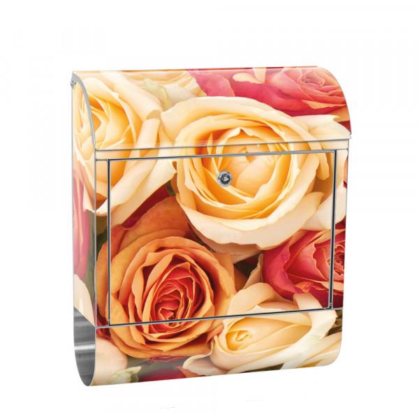 Edelstahlbriefkasten mit Zeitungsrolle & Motiv Blumen Rose Blüte Gelb | no. 0191