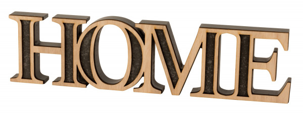 Modern lettering Home Table decoration made of wood in gray / natural Height 10 cm Width 39 cm