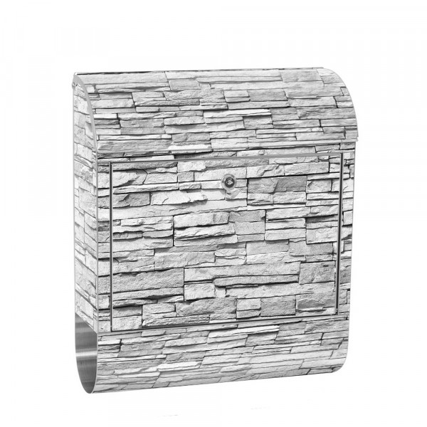 Stainless Steel Letterbox with Newspaper roll & Motif stone wall Stone Optics | No. 0139