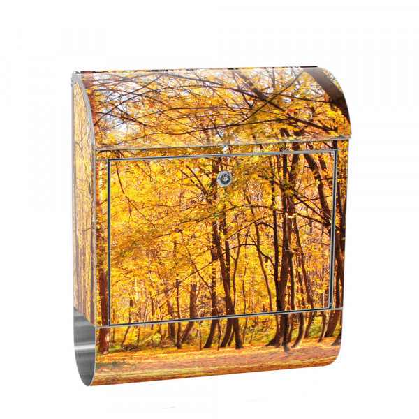 Stainless Steel Letterbox with Newspaper roll & Motif Autumn Leaves forests | No. 0084