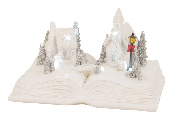 Modern winter landscape on a book with LED ceramic in white Height 14 cm Width 22 cm