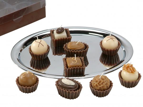Wunderschöner Teelichtsatz Teelicht Kerzen in Form von Pralinen braun im 9er Pack Höhe 6 cm
