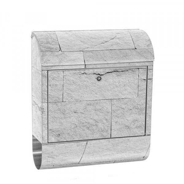 Edelstahlbriefkasten mit Zeitungsrolle & Motiv Sandstein Stein grau | no. 4302