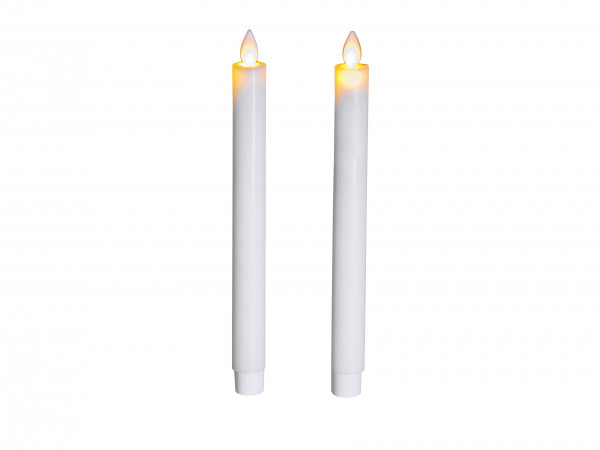 Set of 2 LED table candles white candles in white LED warm white with timer height 24cm