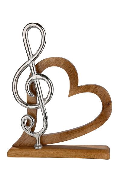 Herz mit Notenschlüssel Mangoholz, Notenschlüssel aus Aluminium Länge 5,0 cm Breite 27,5 cm Höhe 36,