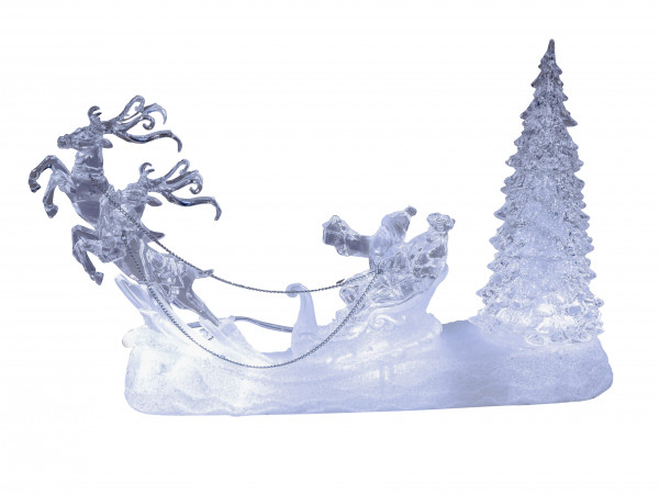 Lighted LED Santa with reindeer and tree in white acrylic filled with water height 28 cm