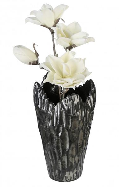 Moderne Deko Vase Blumenvase Tischvase aus Keramik anthrazit/silber Höhe 27 cm