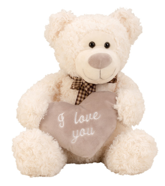 Kuscheliger Teddybär Plüschbär 32 cm groß mit Herz I love you