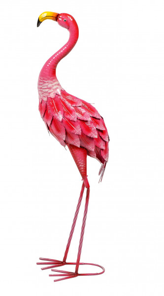 Moderne Gartenskulptur Gartenfigur Flamingo aus Metall rosa stehend Höhe 74 cm