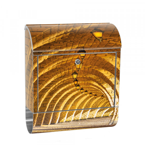 Stainless Steel Letterbox with Newspaper roll & Motif 3D Vault Sandstone | No. 0066