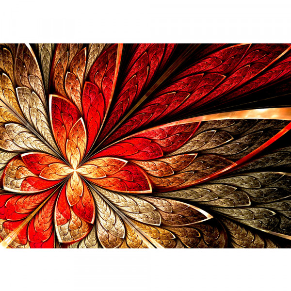 Vlies Fototapete Yellow and Red Floral Ornament Ornamente Tapete abstrakt 3D Wand Rot braun