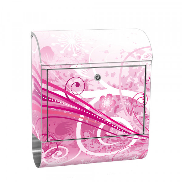 Stainless Steel Letterbox with Newspaper roll & Motif Flowers Orchid Red | No. 0095