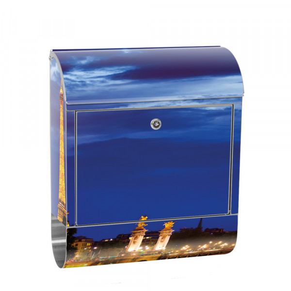 Stainless Steel Letterbox with Newspaper roll & Motif Eiffel Tower Panorama | No. 0983