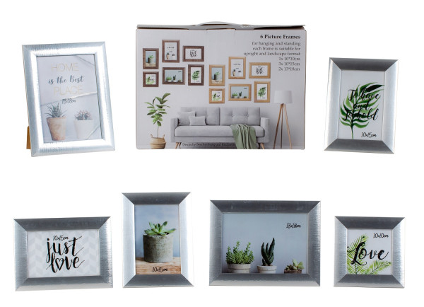 Modern picture frame photo frame set 6 pieces for standing and hanging including gift box silver