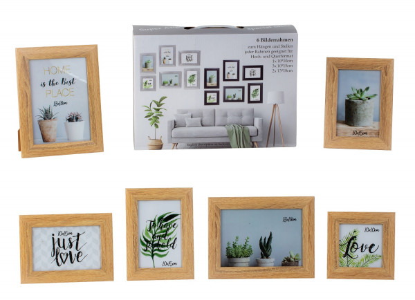 Modern picture frame photo frame set 6 pieces for standing and hanging including gift box light brown