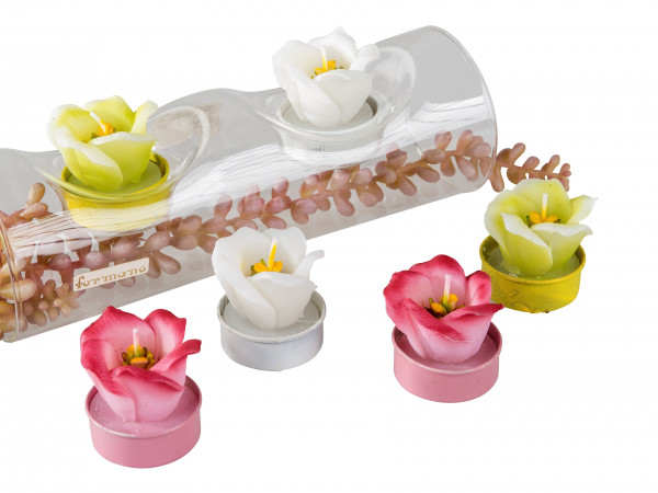Beautiful Tea Layer Tea light Candles Flowers Whit/pink green and yellow in 6 pack height 4 cm