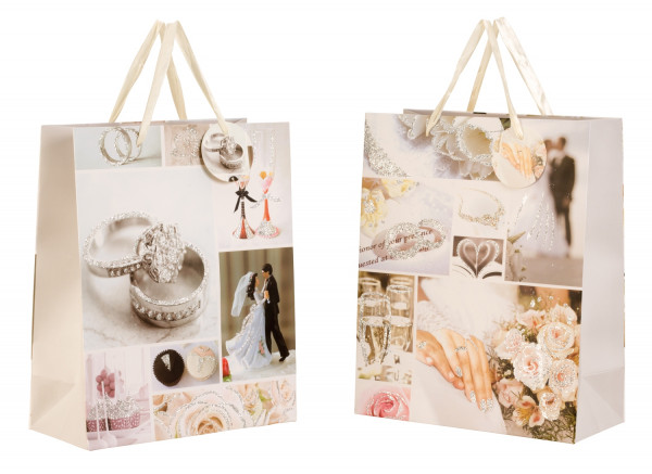 Beautiful wedding gift bags with glitter in the 6pcs set 26x32x12cm