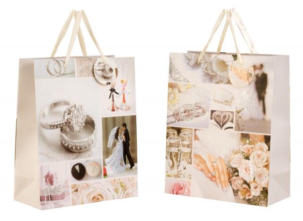 Wunderschöne Hochzeits Geschenktüten mit Glitzer im 6er Set 26x32x12cm