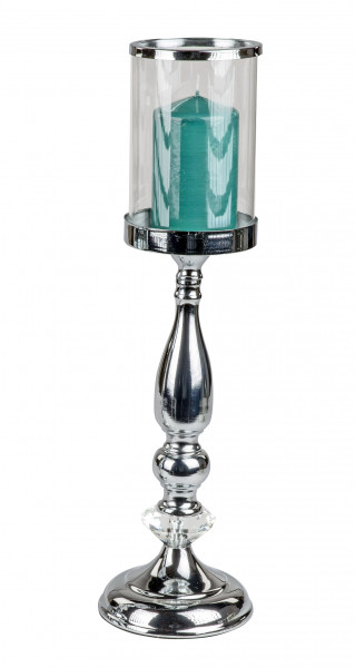 Wind Light Holder Candle Holder wind Light in elegant Design of shiny Chrome and Glass Height 40 cm