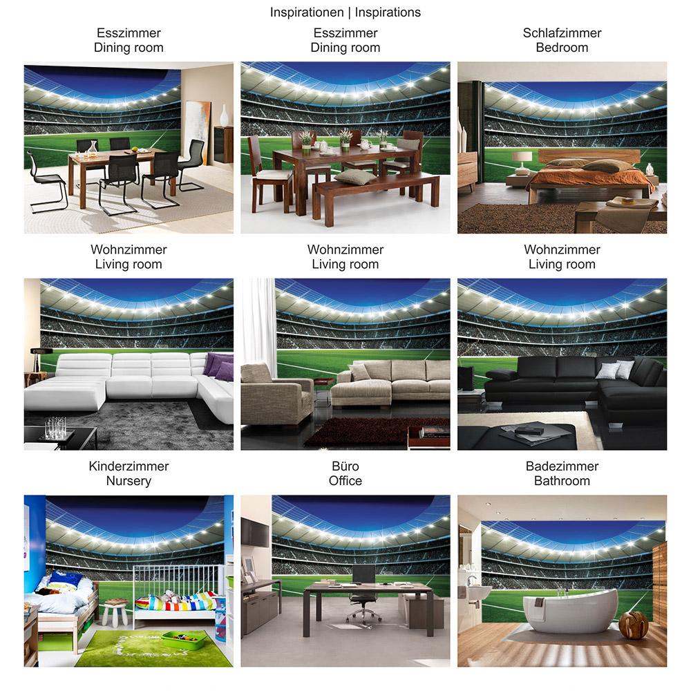 Vlies Fototapete Fussball Tapete Fussballstadion Eckpunkt Flutlicht Rasen Tor Tribune Fans Sterne