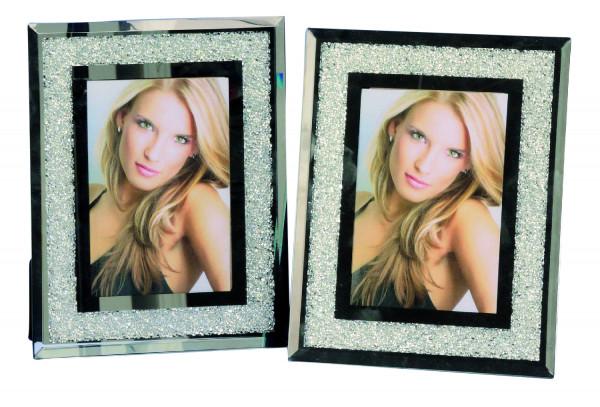 Moderner Bilderrahmen Fotorahmen KRISTALL aus Aluminium und Glas für Bilder 10x15 cm