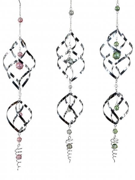 Garten Windspiel Spirale aus Metall silber mit bunten Glaskugeln veredelt Länge 80 cm *1 Stück*