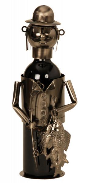 Extravaganter Wein Flaschenhalter Flaschenständer Fischer aus Metall in silber Höhe 34 cm
