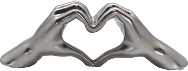Modern sculpture Dekofigur Hand Heart made of ceramic silver matt 31x11 cm