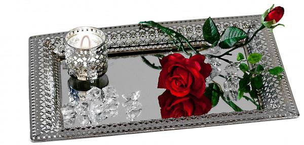 Dekoratives Spiegeltablett Romantik Serviertablett aus Metall und Glas silber 22x32cm eckig
