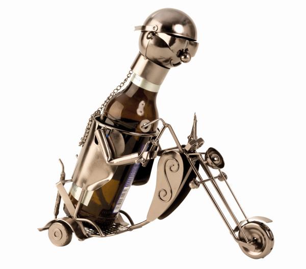 Moderner Bier Flaschenhalter Flaschenständer Motorrad aus Metall in silber Höhe 22 cm Länge 26 cm