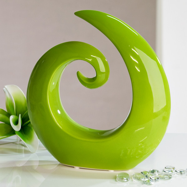 Modern and beautiful sculpture made of ceramic green Height 18 cm Width 18.5 cm