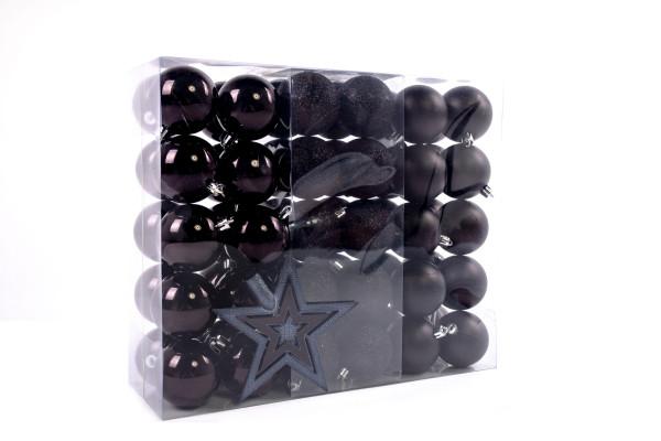 Large Christmas balls set 61 pieces Ø 6 cm Black including star lace Christmas tree decorations