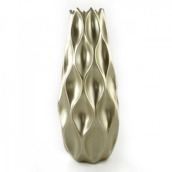 Moderne Dekovase Blumenvase Bodenvase Vase aus Keramik champagner gold Höhe 50 cm Breite 21 cm