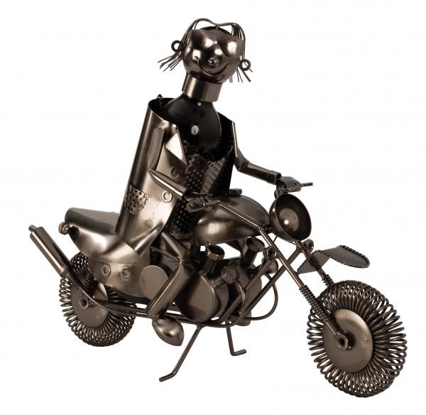 Moderner Wein Flaschenhalter Motorradfahrer aus Metall in silber Höhe 36 cm Länge 47 cm