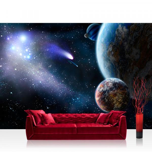 Vlies Fototapete Welt Tapete Erde Weltraum Planet Meteoriten Blau blau