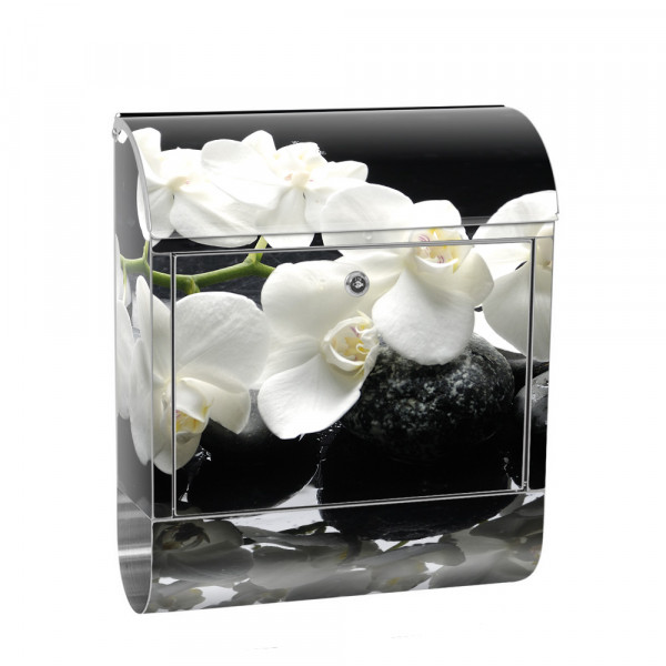 Stainless Steel Letterbox with Newspaper roll & Motif Orchid Flower ranch | No. 0097
