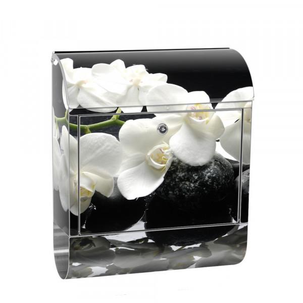 Edelstahlbriefkasten mit Zeitungsrolle & Motiv Orchidee Blumenranke | no. 0097
